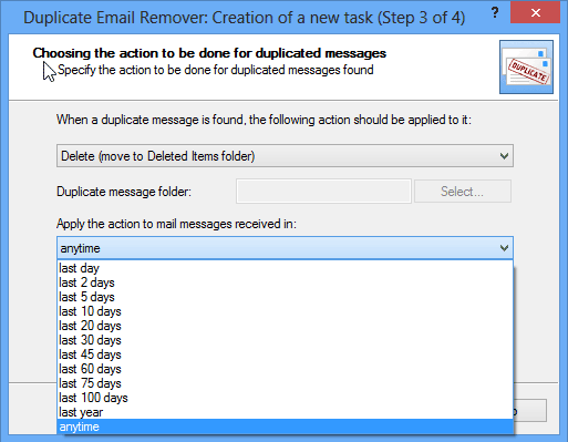 Remove email duplicates in Outlook: Wizard step 3-1