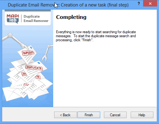Duplicate Email Remover: Wizard is completed