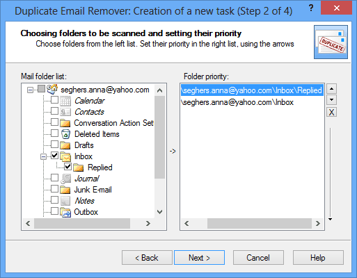 Delete duplicate messages in Outlook: Wisard step 2