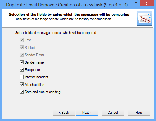 Delete duplicate emails in Outlook: Wizard step 4