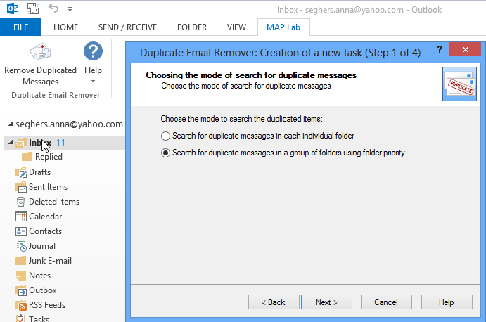 Duplicate Email Remover for Outlook: Wizard step 1