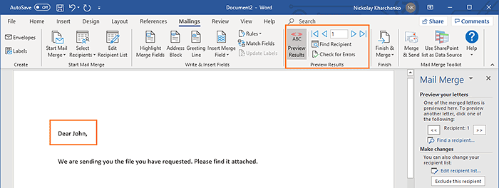 Mail Merge in Word