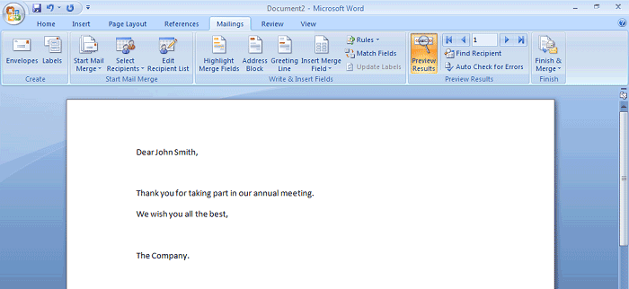 mail merge in outlook 2007