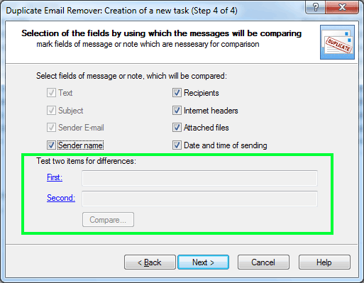 Step 4 in Duplicate Email Remover wizard