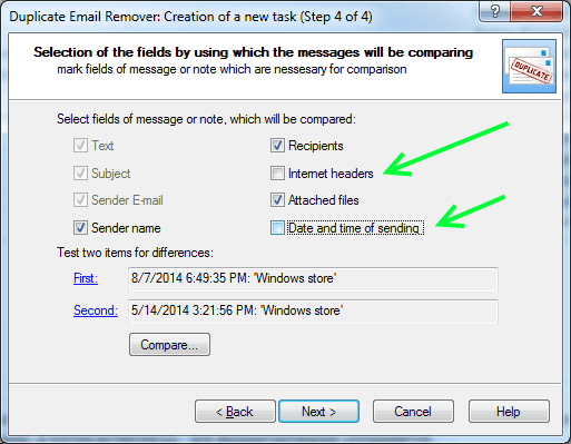 Compare duplicated messages to remove duplicates in Outlook