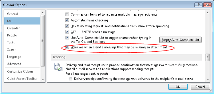 Attachments reminder option in Outlook