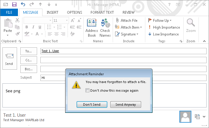 Outlook attachments reminder in action