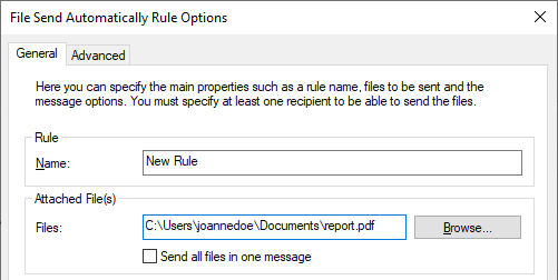 File Send Automatically options