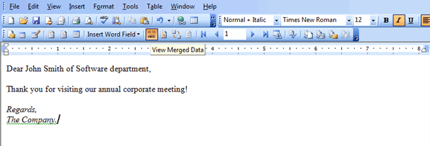 Mail merge in Word 2003