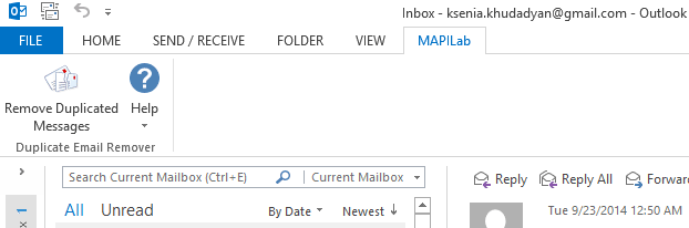 Duplicate Email Remover in Outlook 2013 ribbon