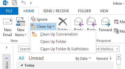 Duplicate emails cleanup in Outlook 2013