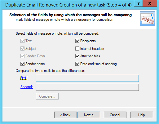 Fields to find duplicate emails in Outlook 2013