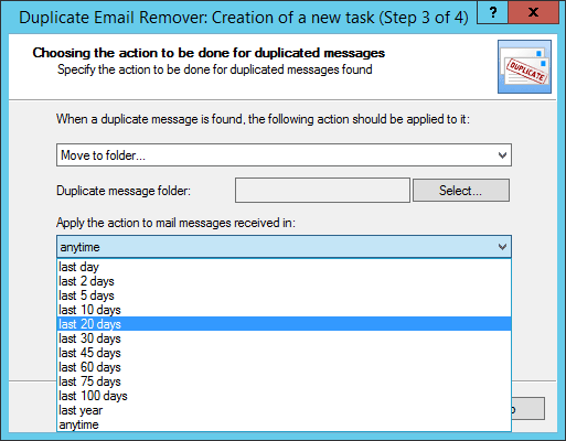 Time frame to search duplicated email messages in Outlook 2013