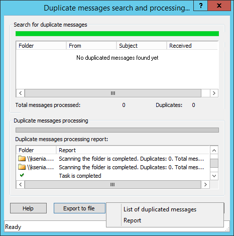 Processing duplicate emails in Outlook 2013 and reporting