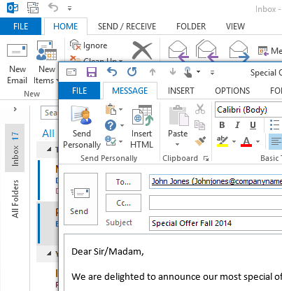 Send Personally add-in in Outlook 2013