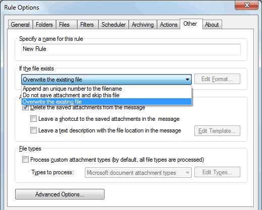 Options to process Outlook attachments