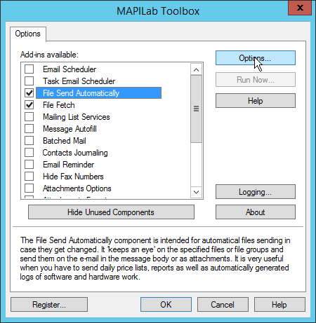Enable component in Outlook