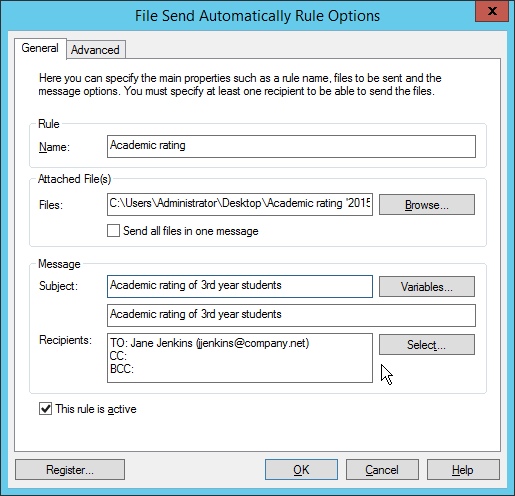 General settings of file send automatically