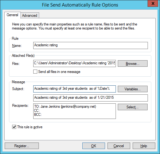 General variable in File Send Automatically