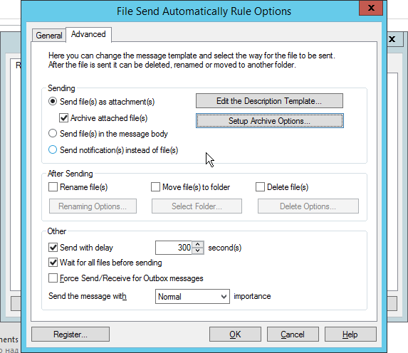Advanced settings in File Send Automatically