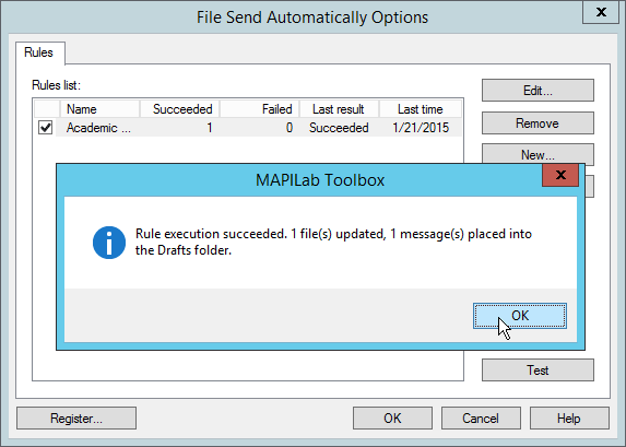 Successful test of File Send Automatically in Outlook