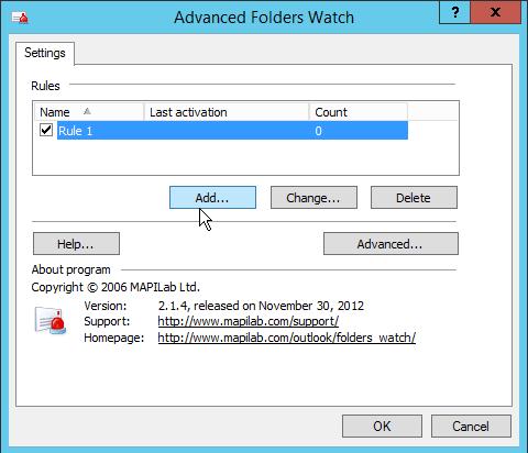 Outlook Advanced Folders Watch Rule list