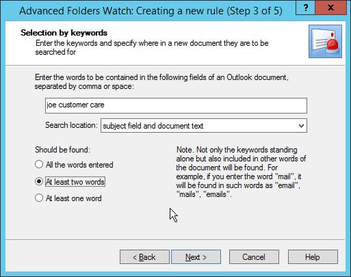 Outlook Advanced Folders Watch keywords
