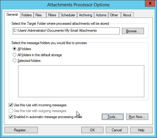 Attachments Processor for Outlook General