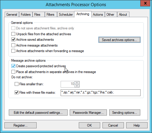 Attachments Processor for Outlook Password