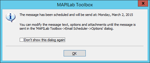 Scheduled email notification in Mapilab Toolbox for Outlook