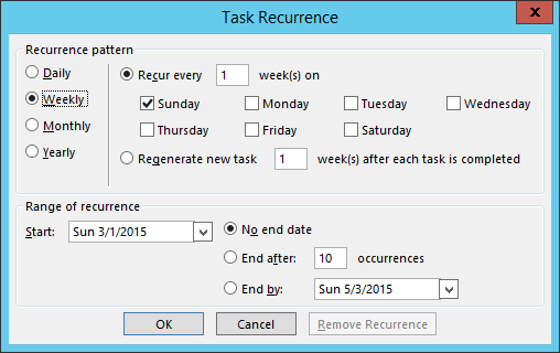 Task options in Outlook add-in