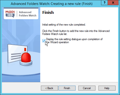 Final step in Advanced Folders Watch for Outlook