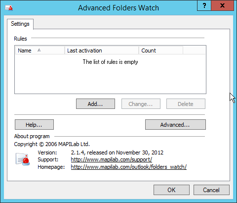 List of rules in Advanced Folders Watch for Outlook