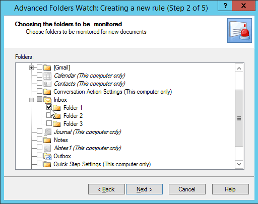 Step 2 in Advanced Folders Watch for Outlook