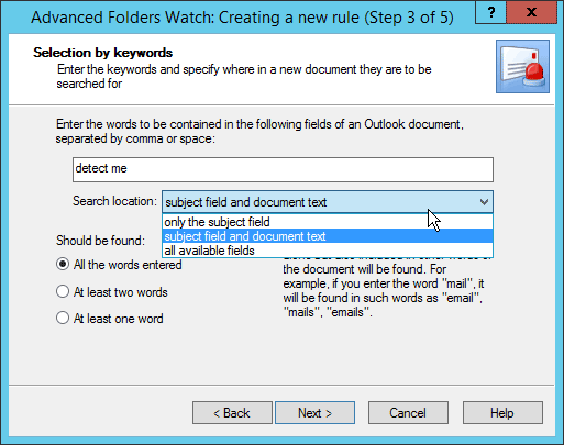 Step 3 in Advanced Folders Watch for Outlook