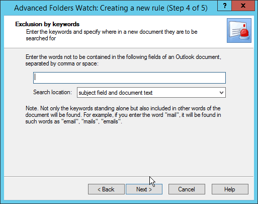 Step 4 in Advanced Folders Watch for Outlook