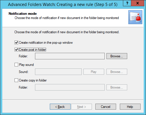 Step 5 in Advanced Folders Watch for Outlook