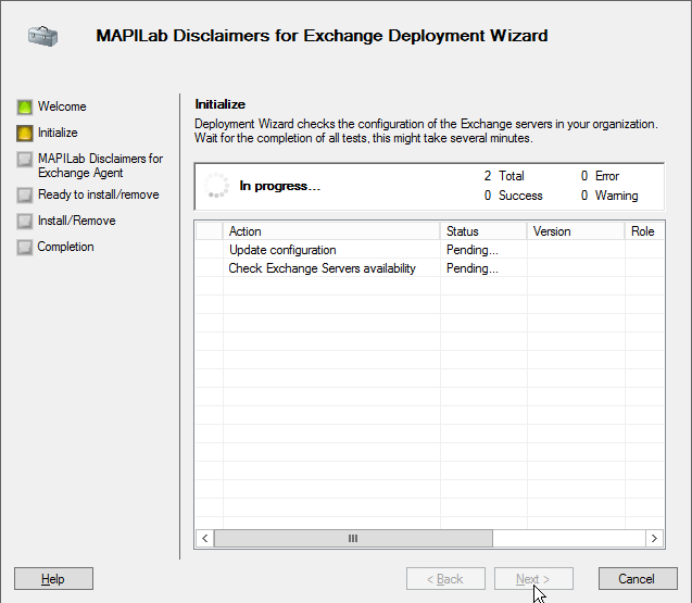 Deployment wizard in MAPILab Disclaimers for Exchange
