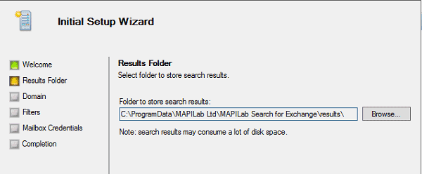 Setup Wizard in Exchange Ediscovery solution