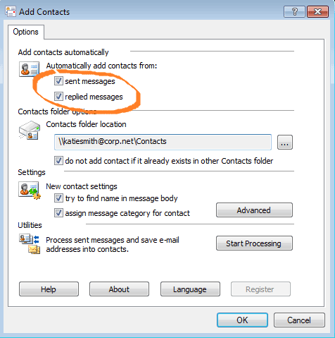 How to create Outlook contacts automatically when sending or