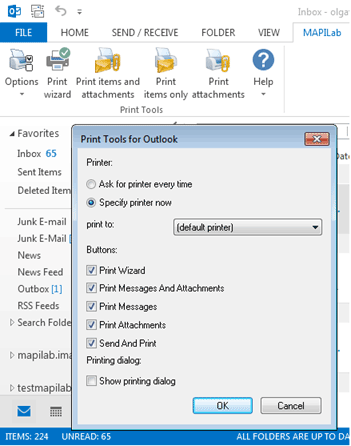 Printer selection in Outlook