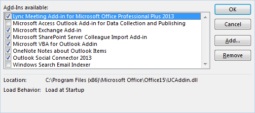 Available Outlook add-ins