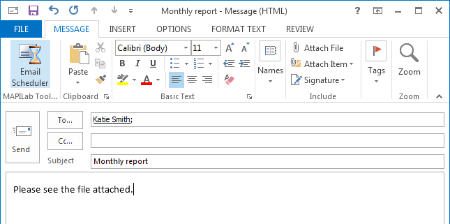 New message in Outlook