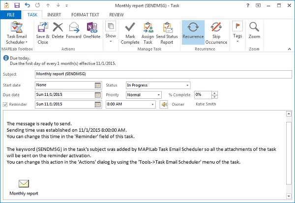 Outlook task creation