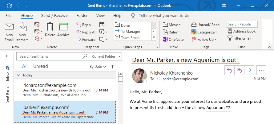Customized email subject in Outlook