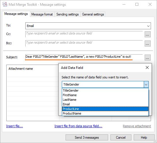 Outlook message subject customization