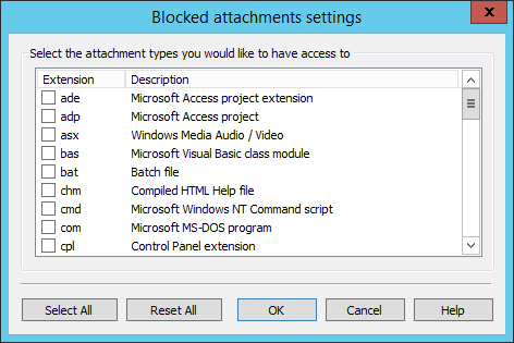 List of blocked outlook extension types