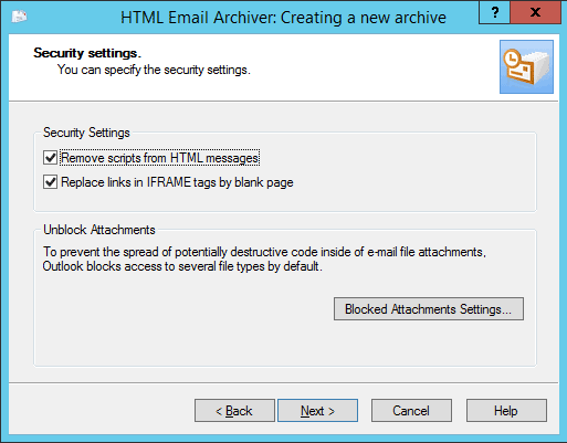 Outlook HTML Archiver wizard