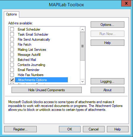 Toolbox for Outlook options