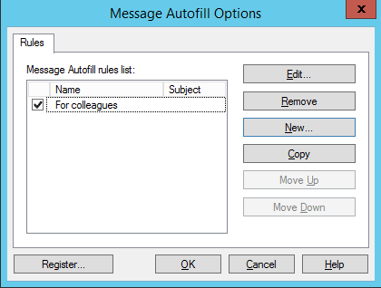 Message Autofill for Outlook options